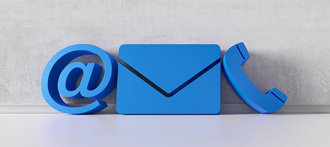 """Large icons of an """"at"""" symbol, an envelope and a telephone."""