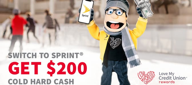 Melvin holding a mobile phone and cash. To the bottom, the words: Switch to Sprint. Get $200 cold hard cash.