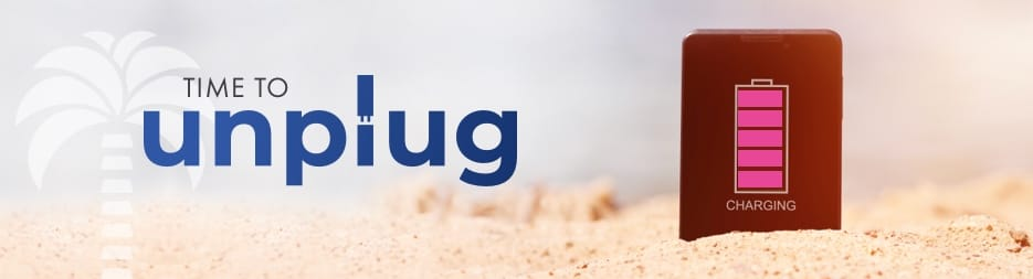 A woman laying on a beach chair. Across the top, the words: Escape the every day.