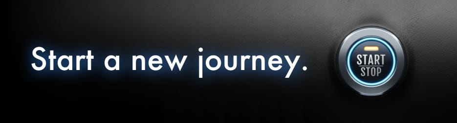 Backseat view of Santa Claus driving a convertible throw a snowy road. At the bottom, the words: sleigh the season.