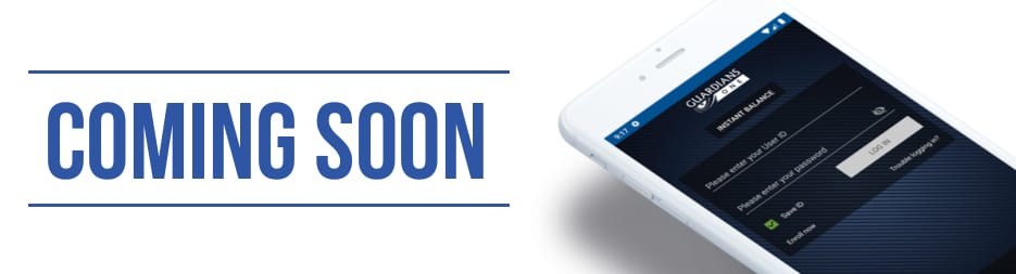 A smart phone with the Guardians One Mobile App open. To the left, the words: Coming soon.